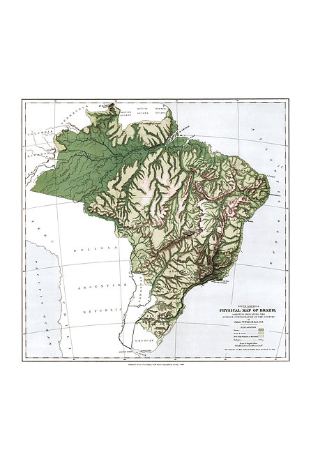 Physical map of Brazil, 1886