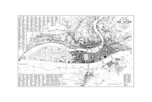 Plan de la Ville de Lyon, 1830