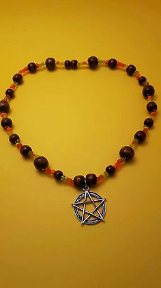 Pentacle and Wood Necklace