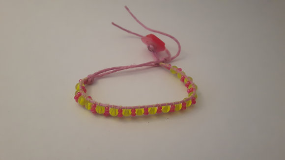 Beaded Pink and Yellow Bracelet