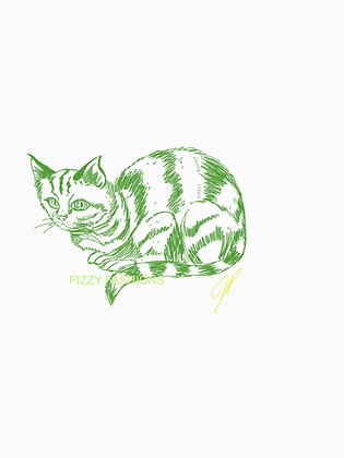 Green Cat Art Print