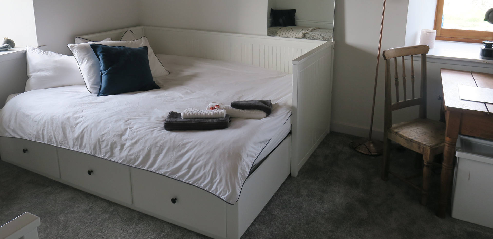 double bed and desk space