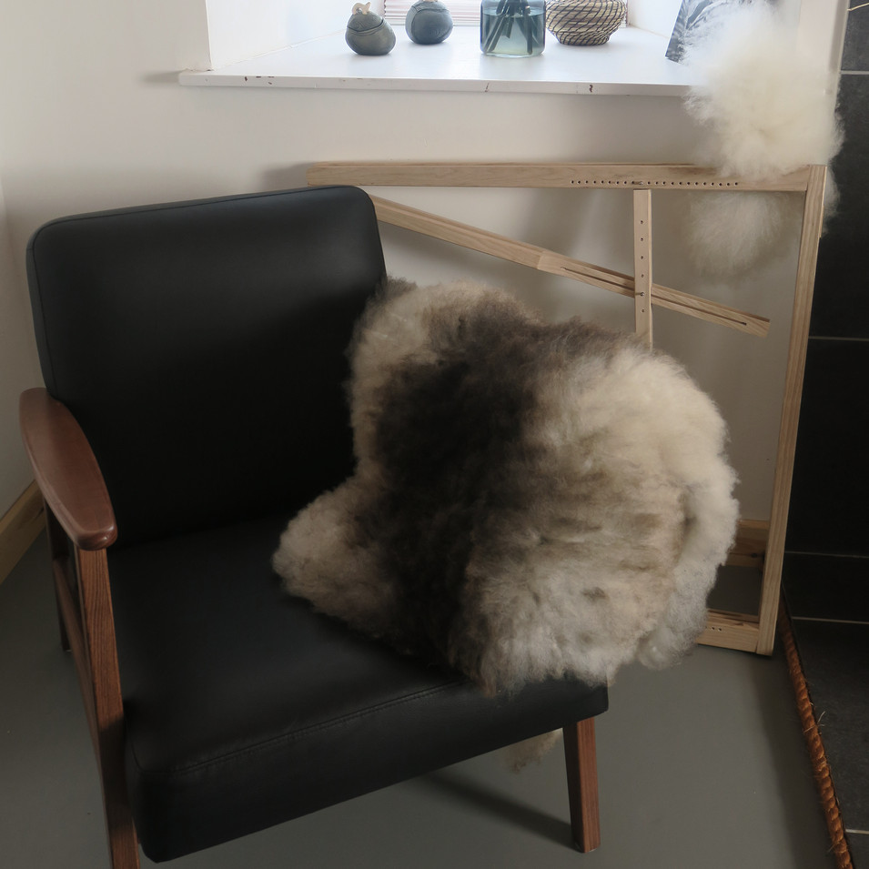 Bicolour sheepskin rug