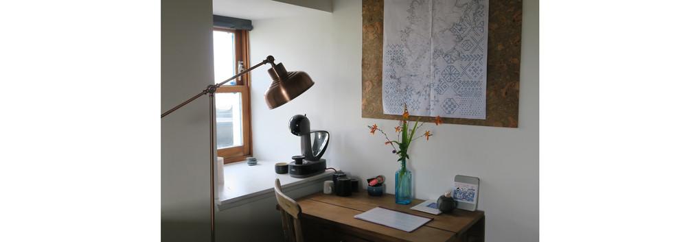 desk and coffee machine