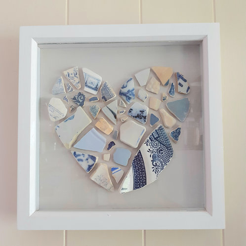 Blue and White Seapottery Heart   - Original Artwork By Emma Bagnall-Oakeley