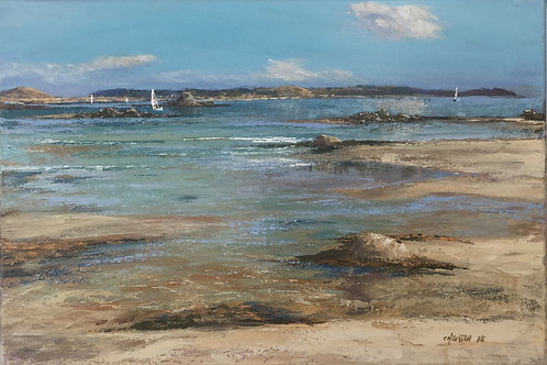 Incoming tide at Pentle Bay Original Artwork By Chris Smith