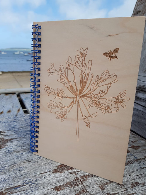 Agapanthus and Bee Wooden Notebook