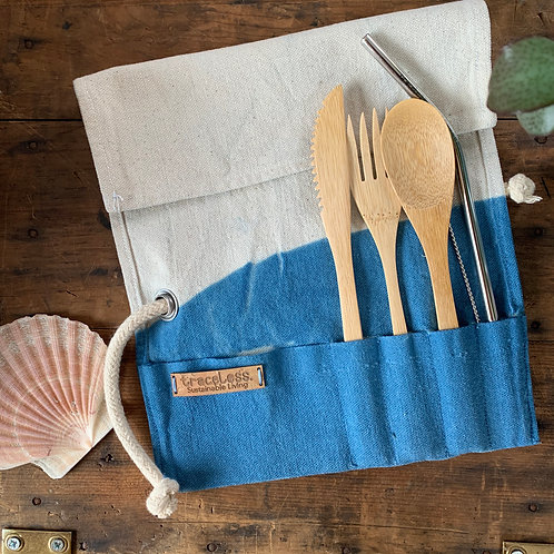 Bamboo Cutlery Wrap - High Tide