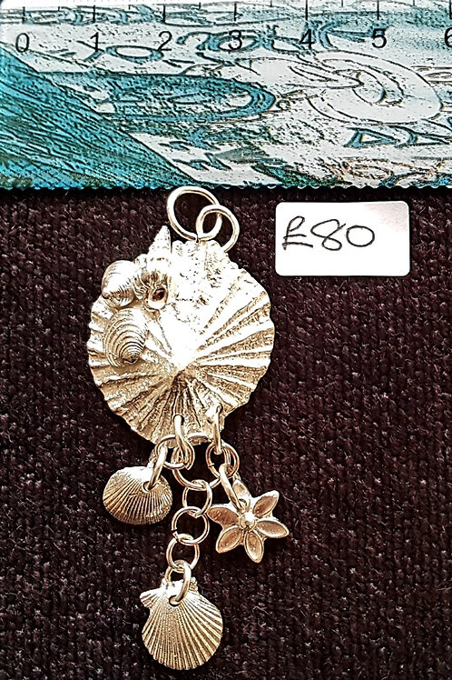 Cluster Of Scilly Seashells Silver Pendent