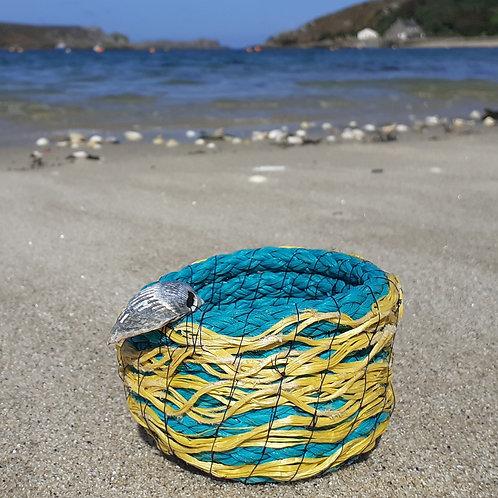 Yellow & Green fishing rope bowl - Original Artwork By Emma Bagnall-Oakeley