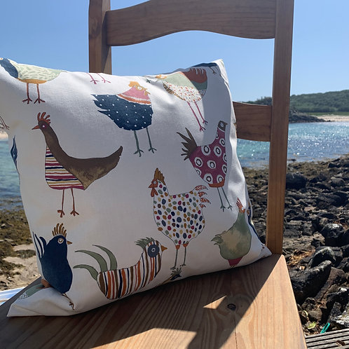 Scilly Chicks Cushion Sewn On Bryher