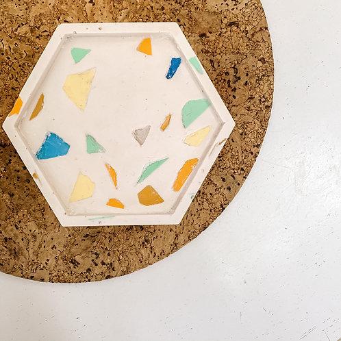 Recycled Ocean Plastic Terrazzo Hexagon Tray