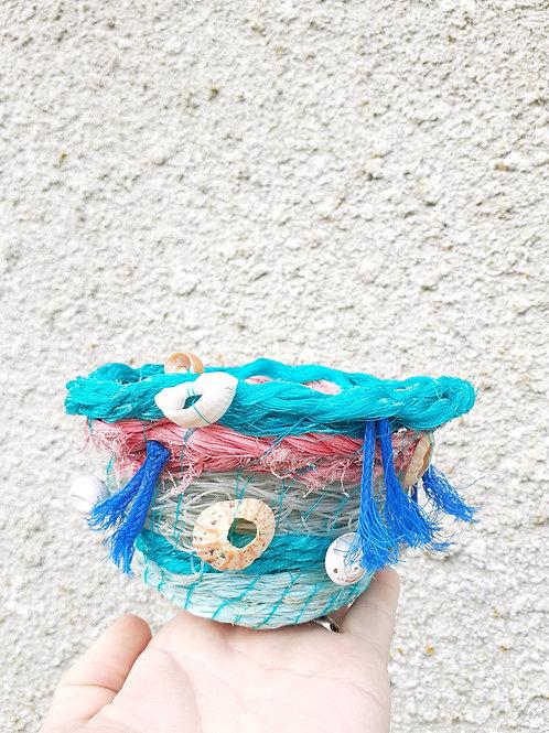 Blue Tassel fishing rope bowl   - Original Artwork By Emma Bagnall-Oakeley