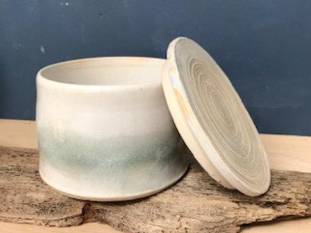 Lidded pot in sea foam glaze