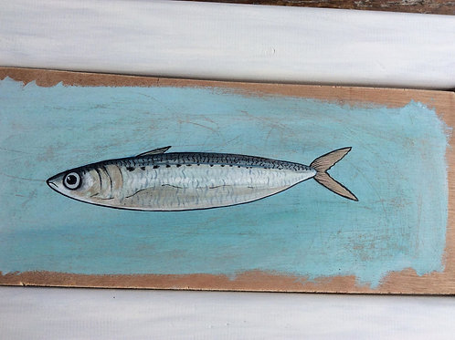 Things you find in Scilly..shiny sardine  - Original Artwork By Emma Eberlein