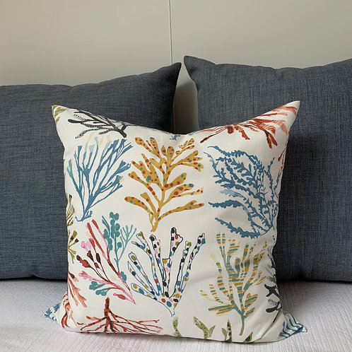 Colourful Scilly Seaweed Cushion Sewn On Bryher
