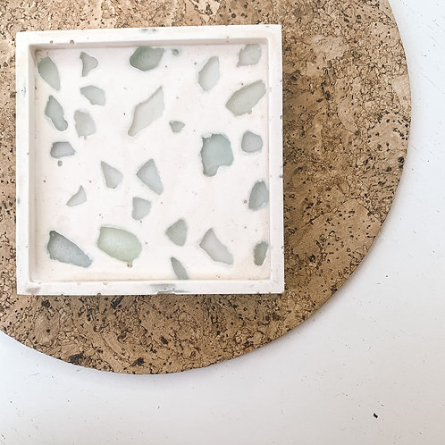 Recycled Seaglass Terrazzo Square Tray