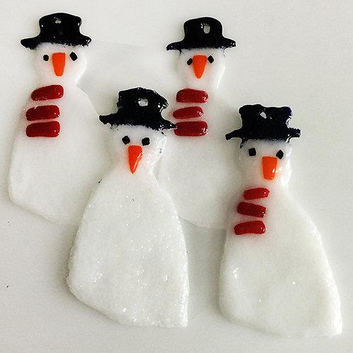Glass Christmas Decorations - Snowmen