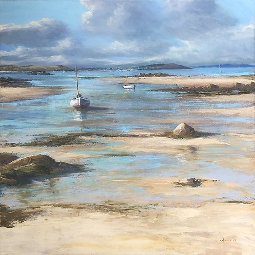 Low Tide, St Martin's Original Artwork By Chris Smith