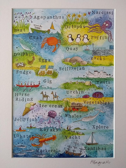 The Scilly Alphabet Illustration - Print By Alex Bagnall