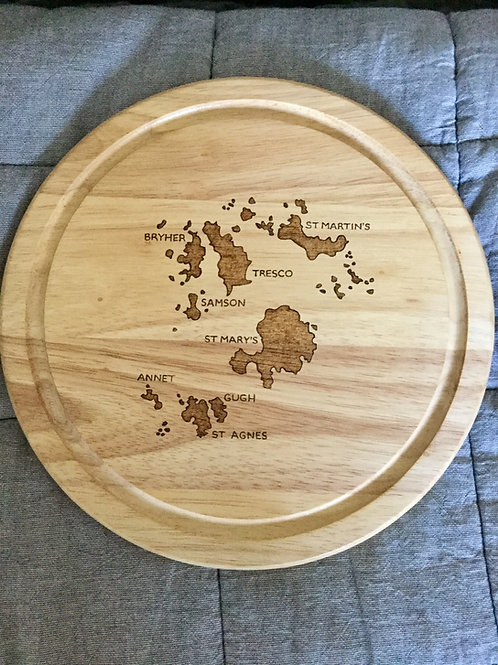 Isles of Scilly Round Map Cheeseboard - Made On St Agnes