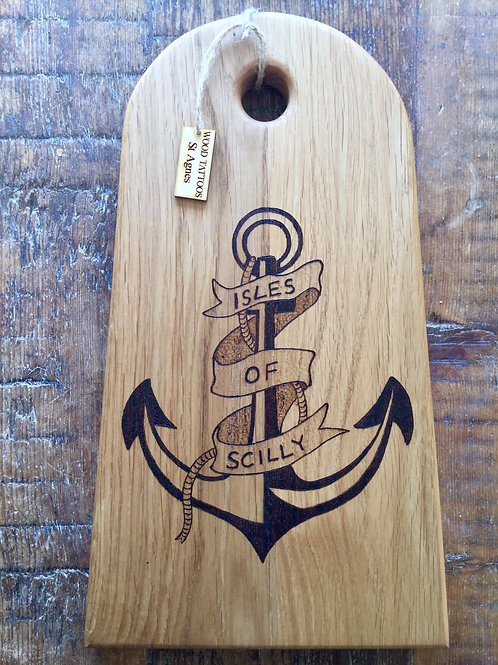 handmade oak Cheeseboard with an anchor wood tattoo