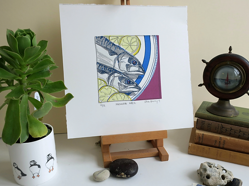 Mackerel Supper Print-By Vic Heaney