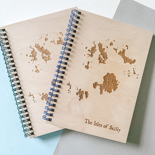 Isles of Scilly Map Wooden Notebook