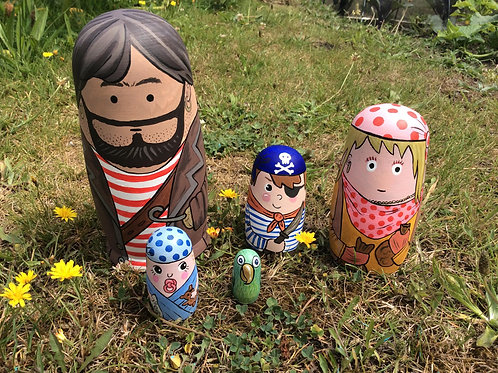 Scilly Pirate family Russian dolls. - by Emma Eberleinn