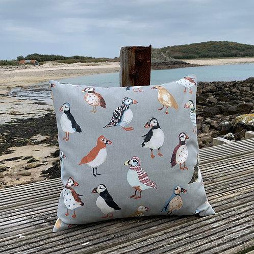 Scilly Rainbow Puffin cushion cover - Sewn on Bryher