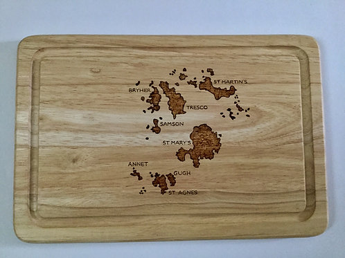 sles of Scilly Map Cheeseboard -Made On St Agnes
