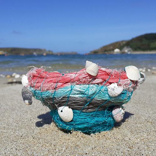 Pink, green & grey fishing rope bowl  - Original Artwork By Emma Bagnall-