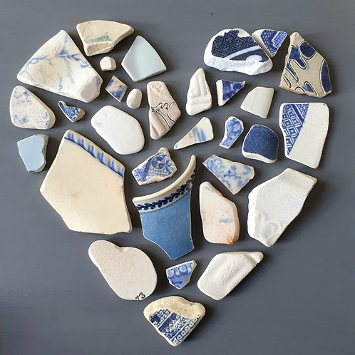 Blue and White sea pottery heart