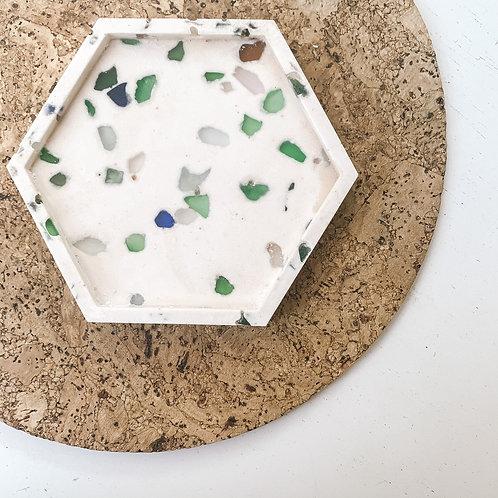 Recycled Seaglass Terrazzo Hexagon Tray