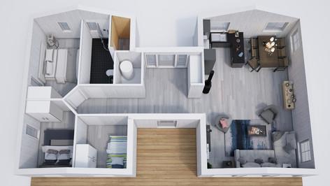 Computer generated image reneder of 3d floor plan