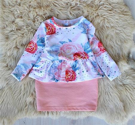 ПЛ64/3-Ф Платье для девочки «Розы» ПЕРСИК
