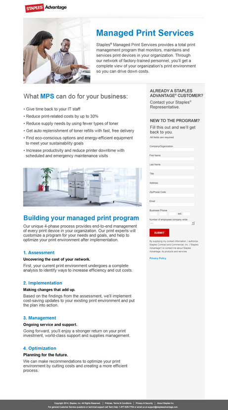 Managed Print Services Landing Page