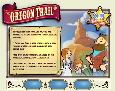 Oregon Trail Sign Up Screen