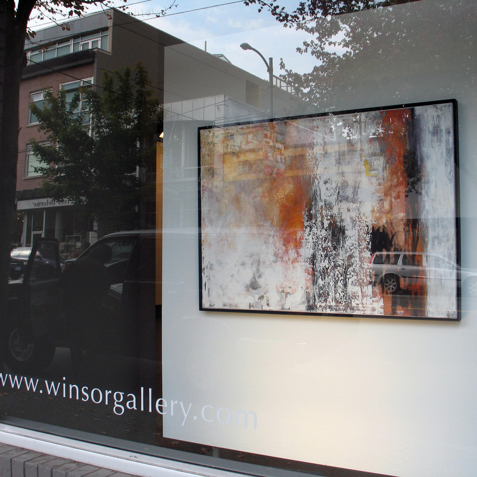 'Snow Me One Last Winter Poem' in the Winsor Gallery window, in Vancouver