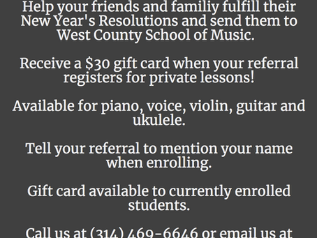 We Love Referrals!  Currents Students: refer a friend and receive a $30 gift card