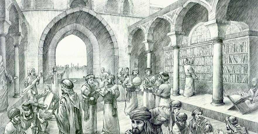 رسمة تخيُلية لمكتبة بيت الحِكمة