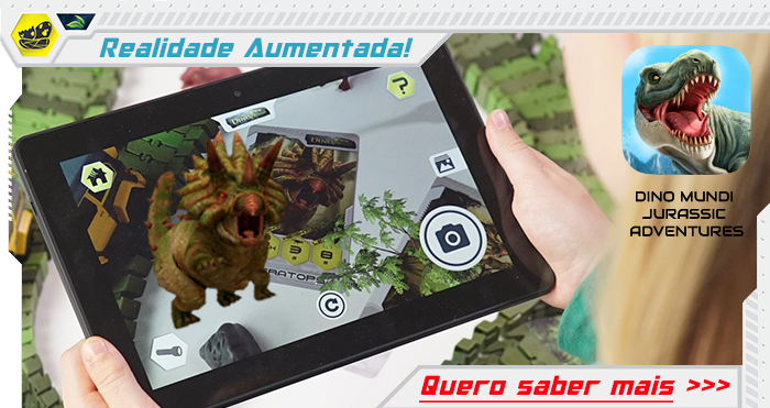 Criança segura um tablet e usa um aplicativo de realidade aumentada. Na tela há um triceratops rugindo! Clique para saber mais!