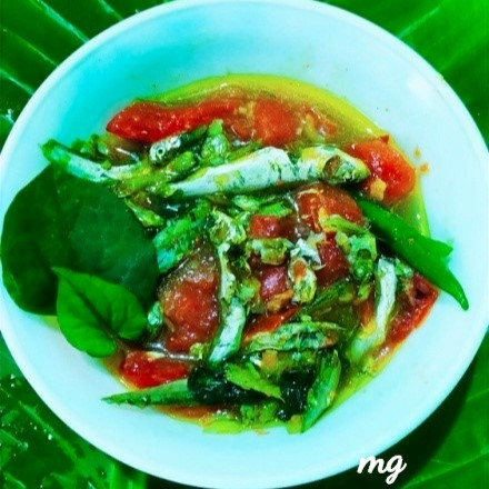Houttuniya Cordata or Fish Mint Leaves cooked with small Fish