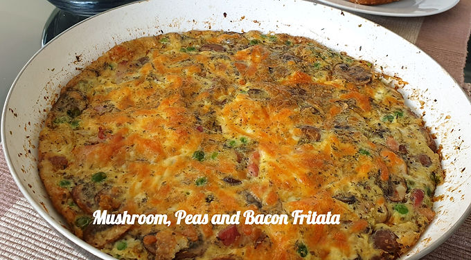 Mushroom, Peas and Bacon Fritata