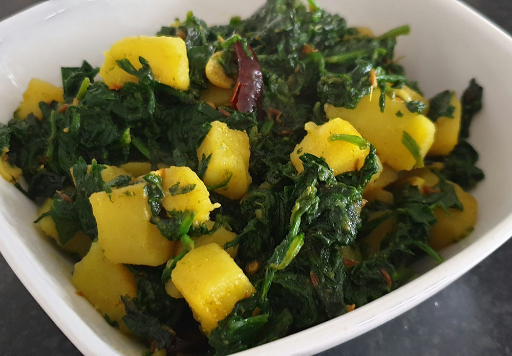 Aloo Palak; Spinach with potatoes