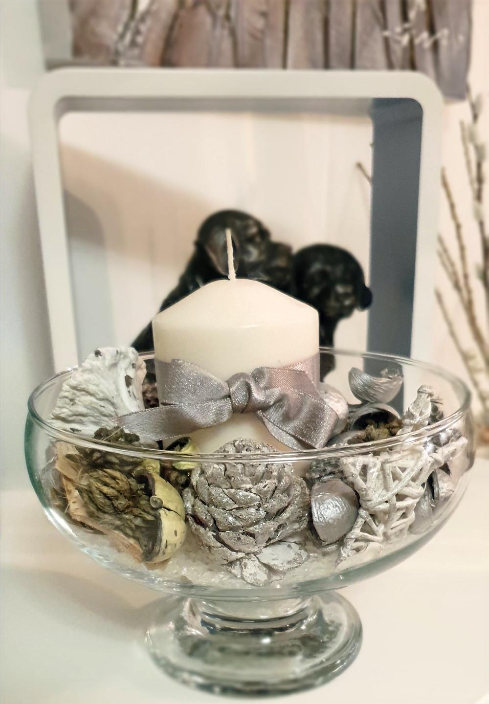 Glass bowl silver christmas decoration
