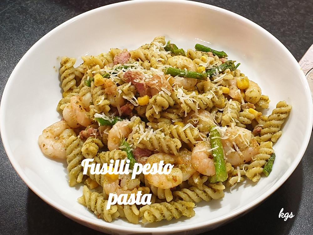 Fusili Pesto Pasta with Asparagus, Prawn, Sweetcorn and Pancetta