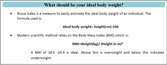 Ideal Body weight chart; BMI chart