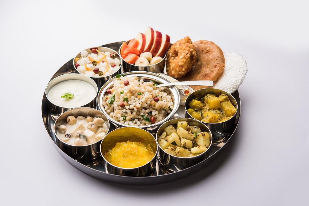 Navaratri fasting thali. Indian festival fasting food