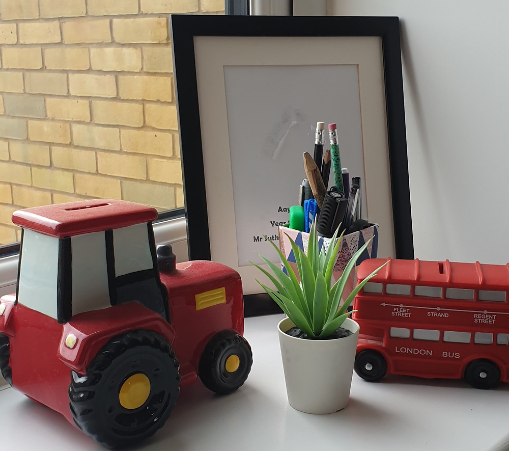 Tractor and London Bus money bank